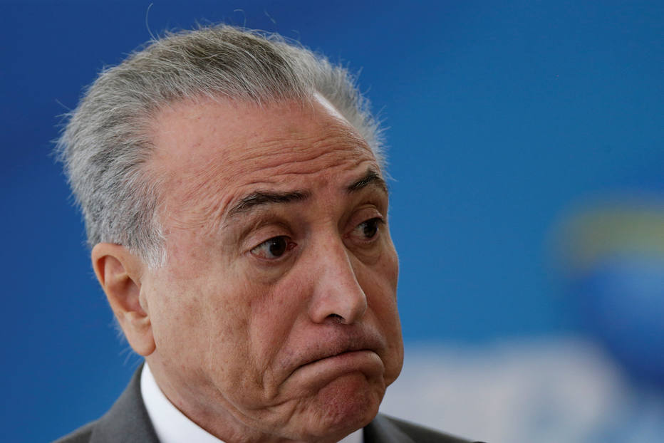 Brazil's President Michel Temer reacts during a ceremony at the Planalto Palace, in Brasilia, Brazil April 12, 2017. REUTERS/Ueslei Marcelino